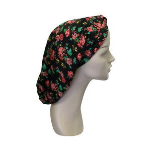 Turban Snood Classic Style Women's Modest Tichel Black with Roses Headscarf
