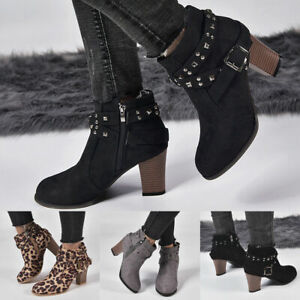 Womens-Ladies-Med-Block-Heel-Boots-Casual-Ankle-Booties-Pointed-Toe-Zipper-Shoes