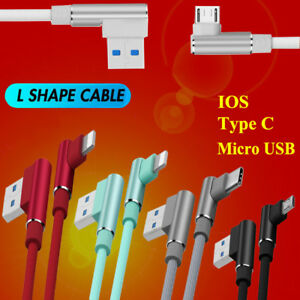 Nylon-90-Degree-Right-Angle-Micro-USB-IOS-Fast-Charger-Data-Sync-Charging-Cable