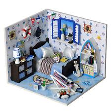 DIY Romantic Summer Sea Doll House LED Dollhouse Cabin Miniature Kit Xmas Gift