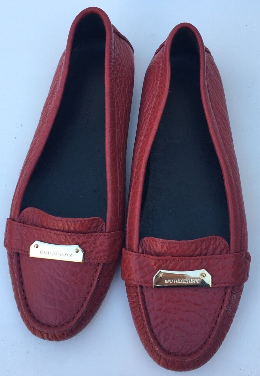 BURBERRY ROWLES LOAFER MOCCASINS SLIP ON WOMENS RED 9 39  395
