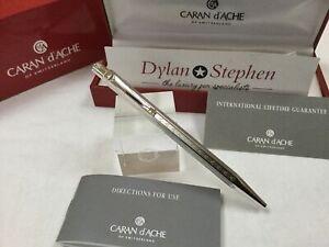 Caran D'Ache Ecridor silver plated chevron ballpoint pen + boxes NEW