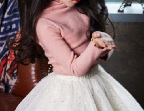 Girls Ruffle Sleeve and Neckline Thick Long Sleeves Top Pink Blue White Black