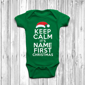 173bb185d Personalised Keep Calm It s My First Christmas Baby Grow Body Suit ...