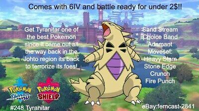 Pokemon Sword and Shield Shiny Tyranitar 6IV Battle Ready ...