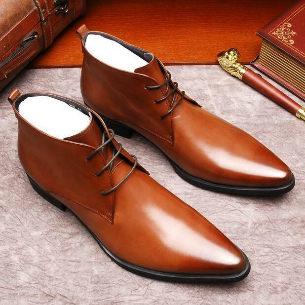 Vintage Uomo Pointed Toe Lace Up Ankle Stivali Pelle High Top Casual Shoes