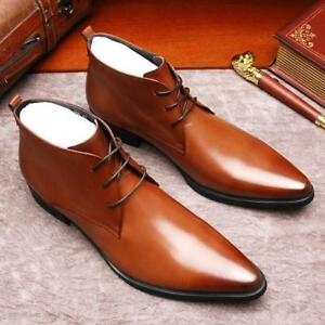 vintage mens pointed toe lace up ankle boots leather high