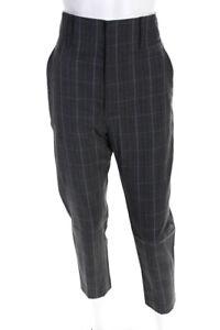 Isabel-Marant-Etoile-Womens-Noah-Plaid-Slim-Pants-Grey-Wool-Size-FR-36
