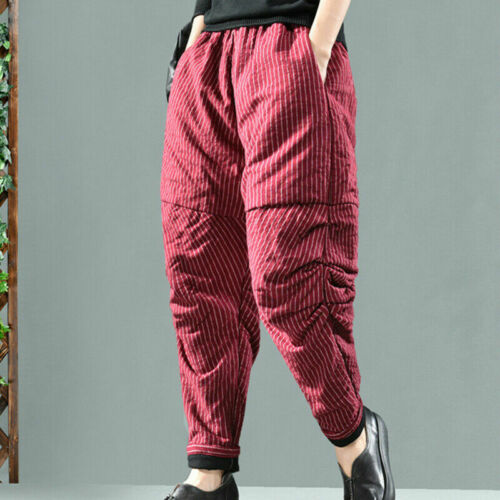 Women Padded Quilted Trousers Pants Bloomers Tapered Casual Loose Warm Thick