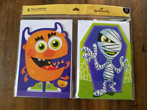 CLEARANCE-Halloween-CARDS-6-Greeting-CARDS-Envelopes-Hallmark-Kids-Monste