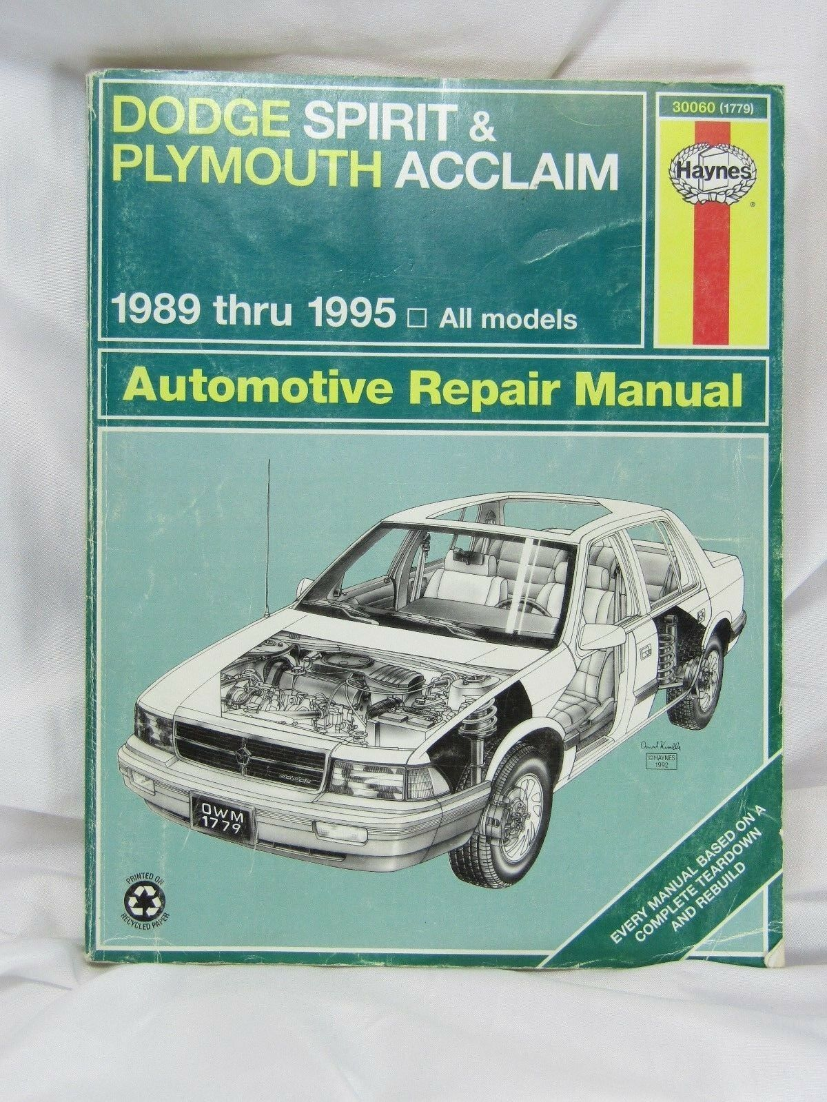 Haynes Repair Manual Dodge Spirit Plymouth Acclaim 1989 Thru 1995 Car Auto  30060 | eBay