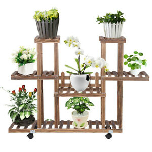 Wooden-Plant-Stands-Indoor-Rolling-Corner-Flower-Stand-Rack-Shelf-Outdoor-Wheels