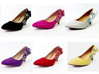 Wedding Shoes - Stunning Diamante Mid Heel Bridal Shoes - Sizes 1 To 8 Uk