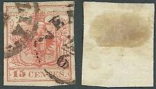 1850 LOMBARDO VENETO USATO STEMMA 15 CENT III TIPO - A122-3