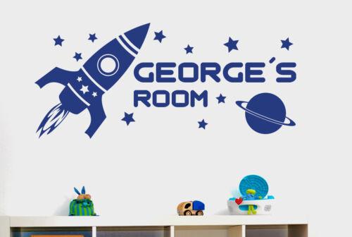 personalizado Cohete espacio Niños habitación Vinilo Pegatinas De Pared Adhesivo