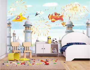 3D Aircraft Castle Cartoon Paper Wall Print Wall Decal Wall Deco Indoor Murals