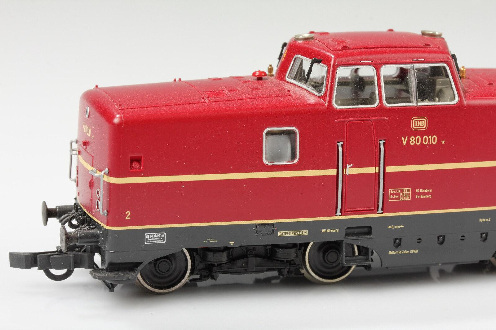 Roco h0 63380 diesellok DB V 80 010 corre luz aceptar-suciedad arañazos OVP