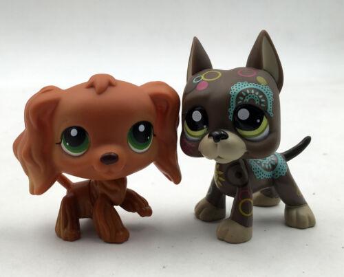 2pcs LPS #252 #1439 Dane Dog Tattoo Rare Cocker Spaniel Littlest Pet Shop Toys