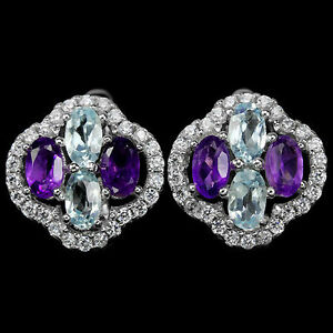 SKY-BLUE-TOPAZ-AMETHYST-GEMSTONE-amp-CZ-STERLING-925-SILVER-EARRINGS