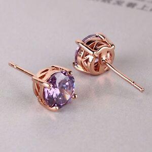 Wonderful-lady-purple-sapphire-18K-rose-gold-filled-charming-stud-earring