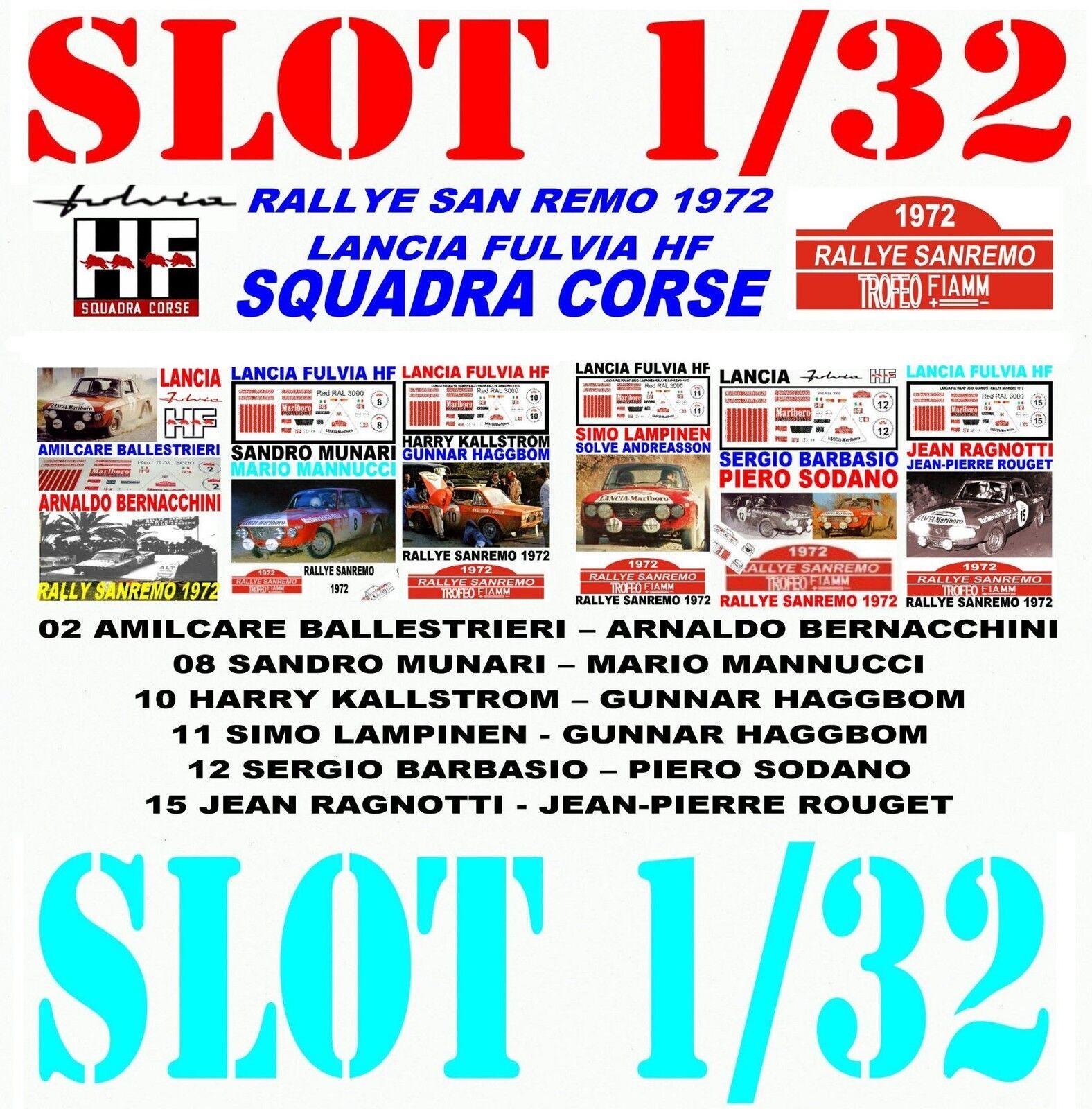 DECAL SLOT 1 32 SET RALLYE SAN REMO 1972 LANCIA FULVIA HF LANCIA TEAM (02)