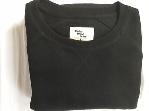 Cedar-Wood-State-Black-Cotton-Blend-Mens-Sweatshirt-Size-L-Immaculate-Condition