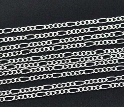1-2 5m Chaine chainette Maille Figaro Argenté 7,5mm x 3,5mm 4mm x 3,2mm