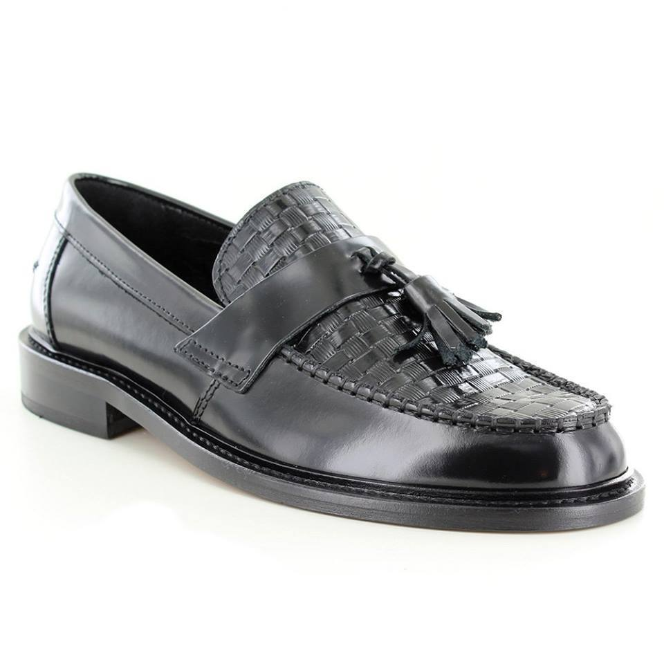 Ikon Weaver Men Shoes Black Polished Leather Leather Leather Moccasin Apron Front Tassel Loafers bc5da0