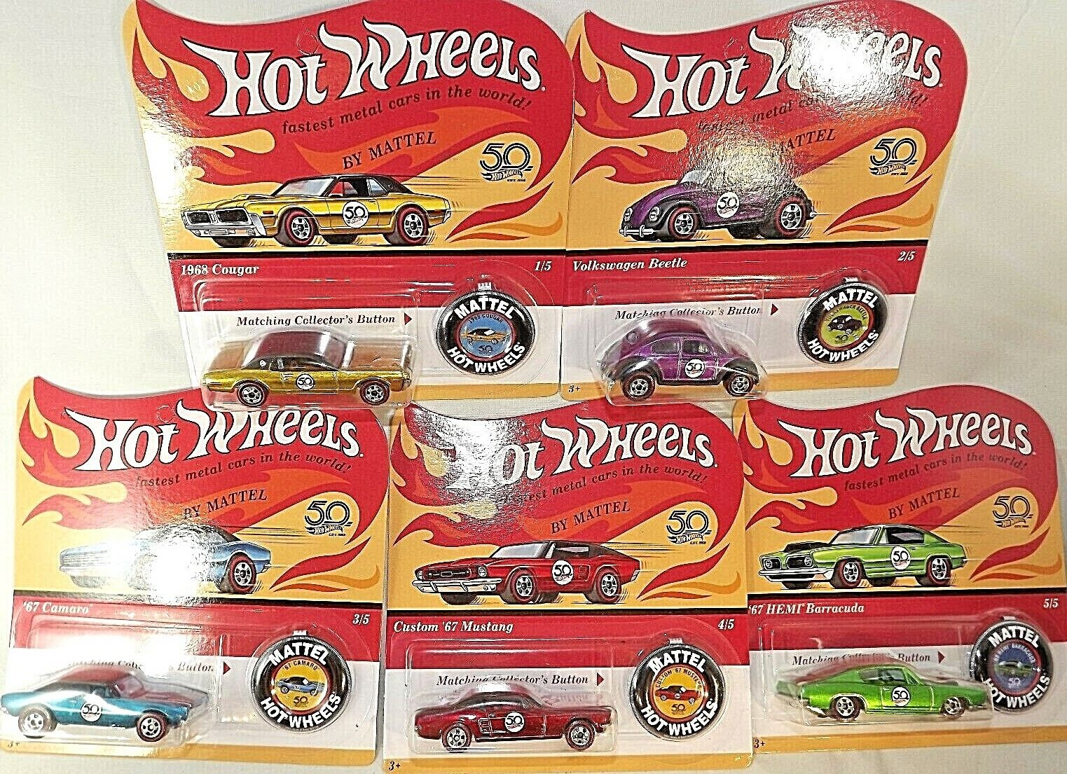 2018 Hot Wheels 50th Anniversary Retro Redlines Complete Set of 5 Unpunched
