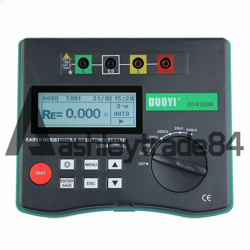 NEW DY4300B 4-Terminal Earth Resistance and Soil Resistivity Tester  AA1.5V8