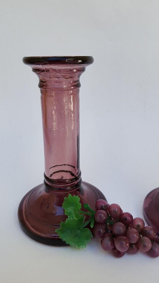 Lilla glas lysestager fra 70'erne