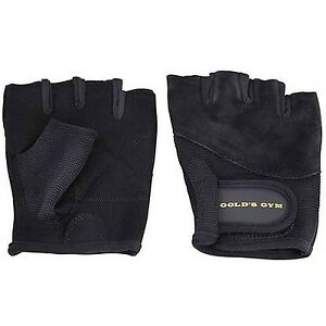 Black Leather Grip Pads Fingerless Gym Gloves Weight Lifting Workout Gripads