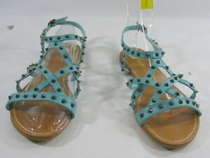 6f8058a108927e Image is loading Summer-Turquoise-Gold-Spikes-Shoes-Roman-Gladiator-Flat-
