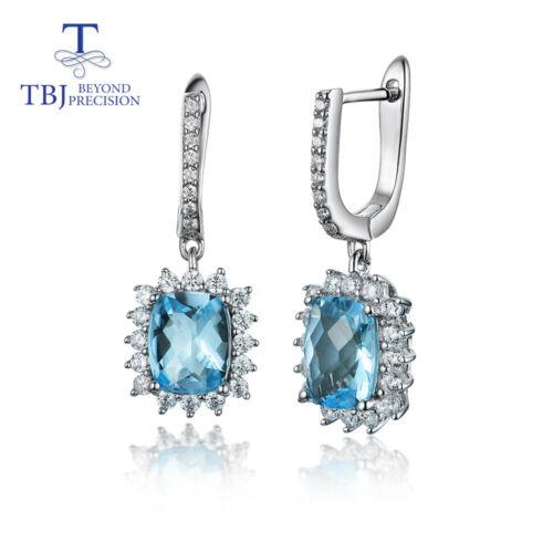 natural blue topaz checkerboard cut gemstone 925 sterling Silver earrings