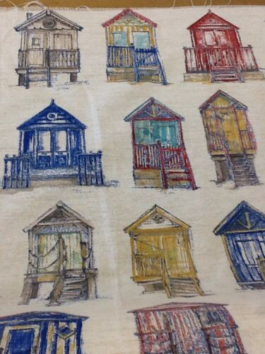 loneto Beach Huts In Blue 100/% panama cotton linen look fabric by the metre