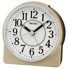 Seiko QHE137G Best Sweep Second Hand Beep Alarm Clock with Snooze - Gold / White