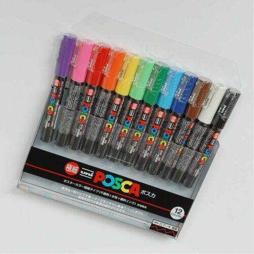Uni-posca PC-1M Paint Marker Pen Set of 12 Extra Fine Point