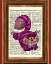 Alice in Wonderland Cheshire Cat Dictionary Art Print Book Picture Tale Poster