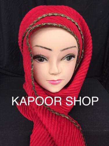 NUOVO stile Crinkle bordo Hijab//Crush Scarfs