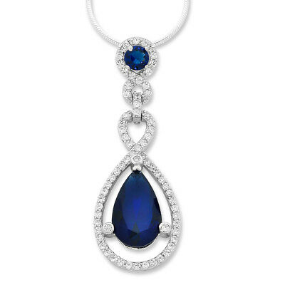 Bevilles Sterling Silver Blue Cubic Zirconia Pear Necklace XX9316/XX1690