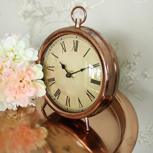 Antique-style-copper-mantel-desk-shelf-clock-shabby-vintage-chic-home-gift