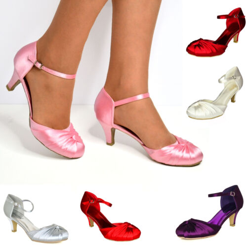 Women Satin Low Heel Bridal Shoes Ankle Strap Bridesmaid Prom Mary Jane Size New