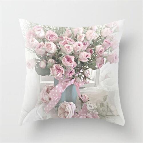 Pink Spring Flower Sofa Pillowcase Cushion Cover Throw Pillow Case Home Decor 18