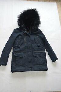 9365dce4ece Details about The Kooples Navy Blue Raccoon Fur Hooded Biker Jacket Parka  Coat Size 2 S/M 8-10