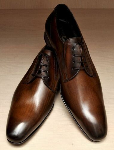 Mens Handmade Shoes Brown Derby Lace Up Formal Dress Custom Made Casual Boots