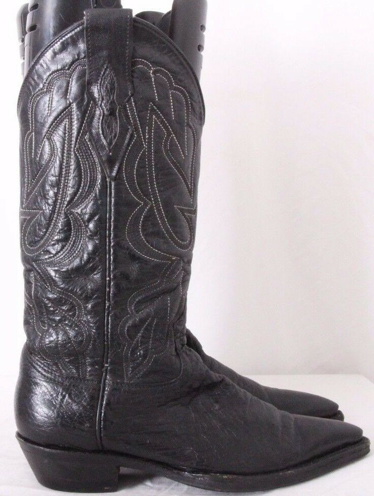 Handmade Smooth Ostrich Pointed Toe Pull On Cowboy Western Boots Women's US 7