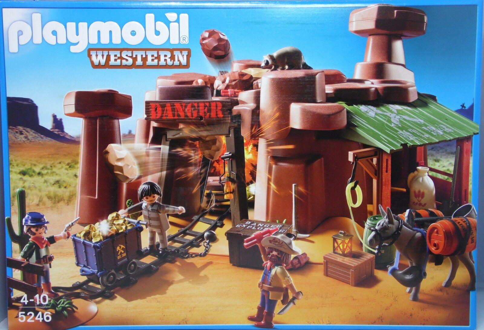 Playmobil Western 5246 Goldmine Mine mit Sprengkiste Lore Esel Waschbär NEU