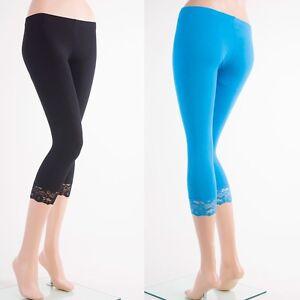 6071cd0272d C-L1001 Capri Cotton LACE Trim Leggings Skinny Yoga Thin Pants S~3XL ...