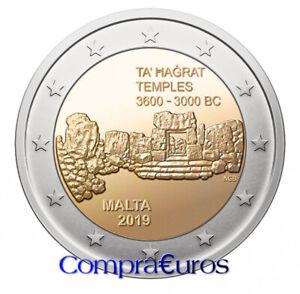 2-Euros-Conmemorativos-MALTA-2019-Templos-Ta-Hagrat-Sin-Circular
