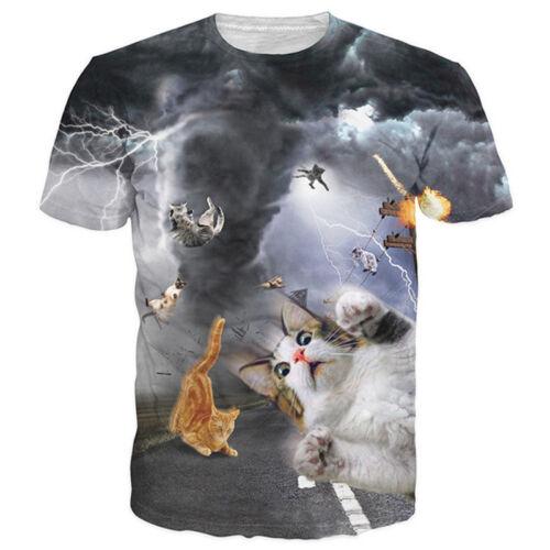 Womens//Mens Tornado Windy Cats Funny Animal 3D Print Casual T-Shirt Short Sleeve